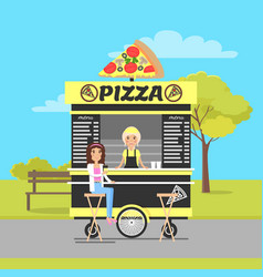 Pizza wagon in autumn park vector