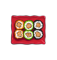 plate of japanese sushi rolls sketch style vector image