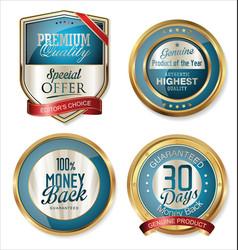 Premium quality golden labels 3 vector