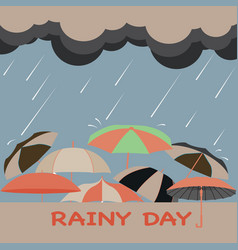 rainy season background with clouds raindrops and vector image