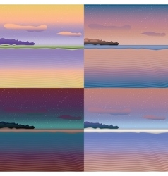 Sea landscapes set vector image