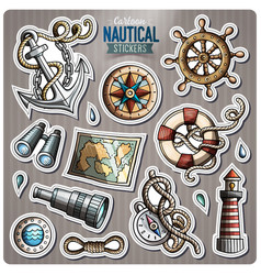 Set of nautical cartoon stickers vector