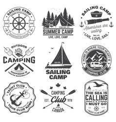 set summer camp and sailing badges vector image