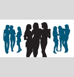 silhouettes three young women vector image