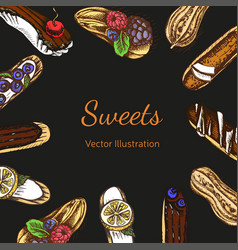 sketch eclair card menu vector image