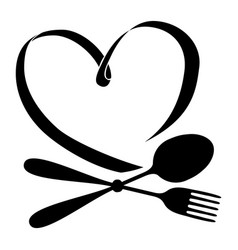 Spoon with fork and heart vector