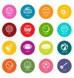 Sport balls equipment icons set colorful circles vector
