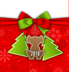 Tags and stickers with dog greeting label 2018 vector