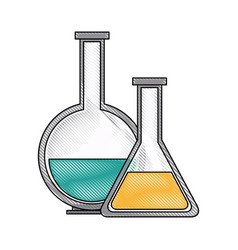 test tube flask glass laboratory equipment school vector image