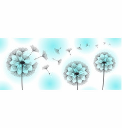 Three dandelions blowing in the wind vector