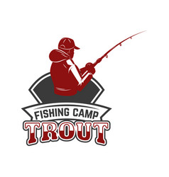 Troutfishing emblem template with fisherman vector