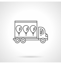 Truck with balloons icon line design icon vector image