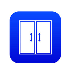 Two glass doors icon digital blue vector