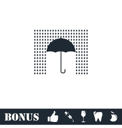 Umbrella and rain icon flat vector