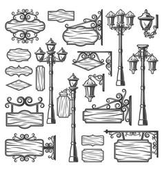 vintage street lanterns set vector image