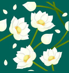 White indian lotus on indigo green teal vector