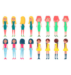 women in fashionable outfits girls color dresses vector image