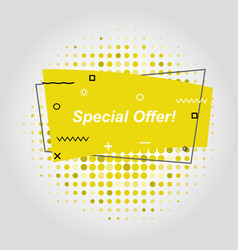 yellow flat speech bubble shaped banners vector image