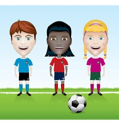 Youth Soccer Diverse Kids vector