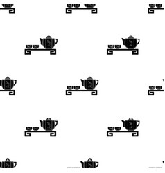 japanese tea black icon in black style isolated on vector image
