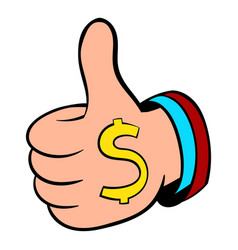 thumbs up sign and dollar sign icon cartoon vector image vector image