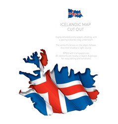 iceland map cut-out with waving flag vector image vector image