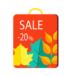 sale 20 promo poster on shopping bag with handle vector image vector image