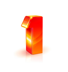 shiny orange red 3d number 1 on white background vector image vector image