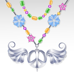 silver peace necklace vector image vector image