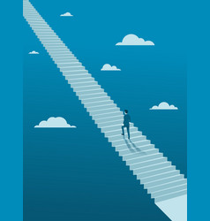Businessman walking up on endless stair vector