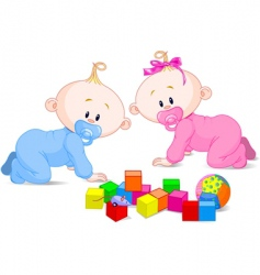 cute twins vector image vector image