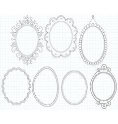 Elegant ornate oval doodle frames vector