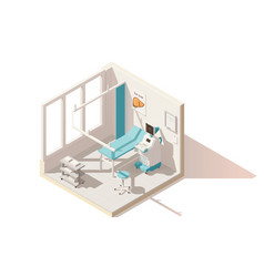 isometric low poly ultrasound room vector image vector image