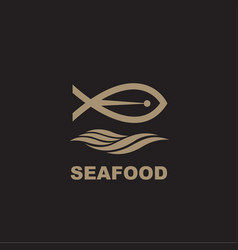 seafood icon with fish vector image vector image