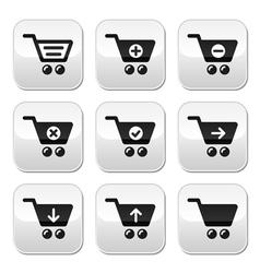 Shopping cart buttons set vector image vector image