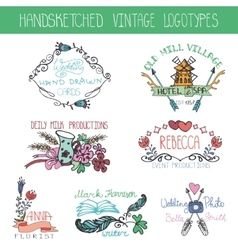 Vintage floral logotype setDoodle hand drawing vector image vector image