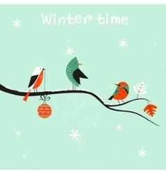 Birds on the brunch at the winter vector image vector image