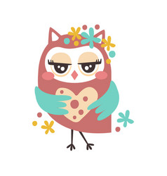 cute cartoon flirtatious owl bird colorful vector image