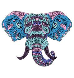 elephant head boho zentangle doodles vector image vector image
