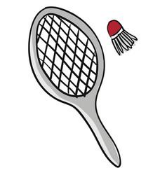 A badminton and a shuttlecock or color vector