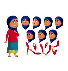 Arab muslim teen girl teenager face vector