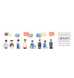 asian men women group chat bubble communication vector image
