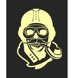 Aviator skull emblem vector