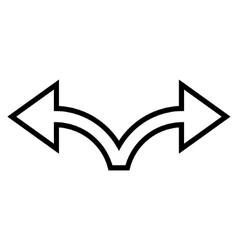 Bifurcation Arrow Left Right Thin Line Icon vector