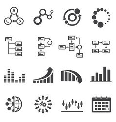 big data icon set business infographic vector image