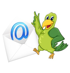 Bird with mail envelope vector