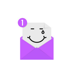 Blissful emoji in purple letter notification vector