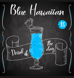 blue hawaian cocktail hand drawn drink on white vector image