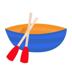 boat paddle oar icon blue vessel skiff fisshing vector image