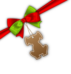 Bow ribbon with tag dog label for 2018 vector